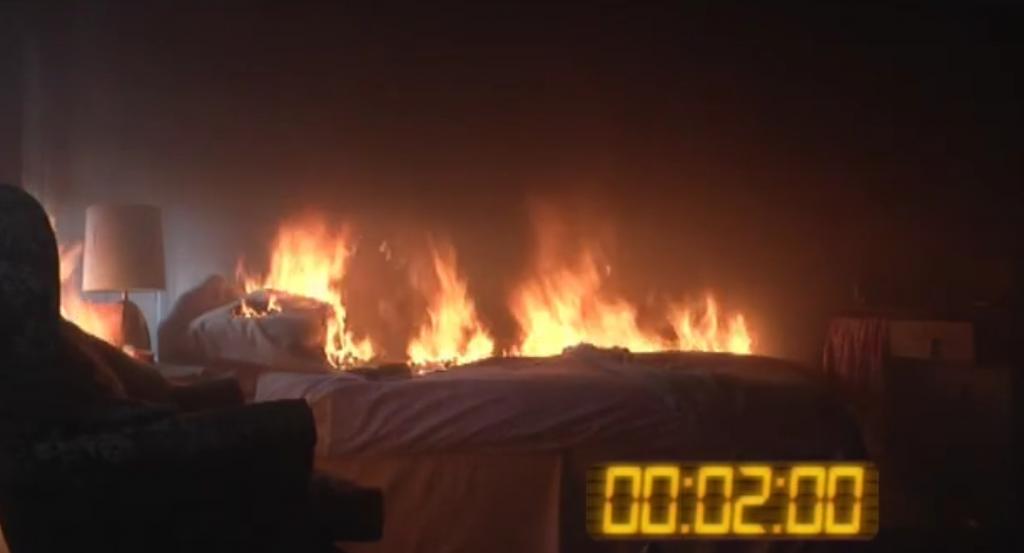 Cheshire Fire Sprinkler Campaign: Sprinkler Test - Bedroom fire test 2 mins